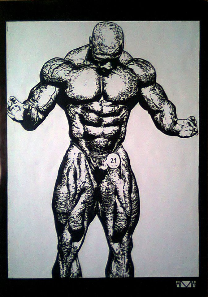 Hand inked kai greene created by david domingos from portugal for Kai greene painting