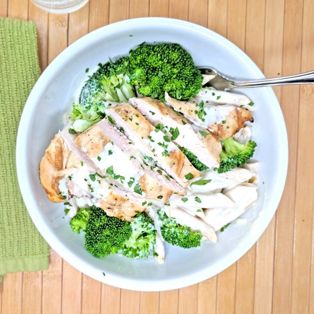 Epiphany Meal Prep chicken breast broccoli Alfredo sauce whole wheat pasta