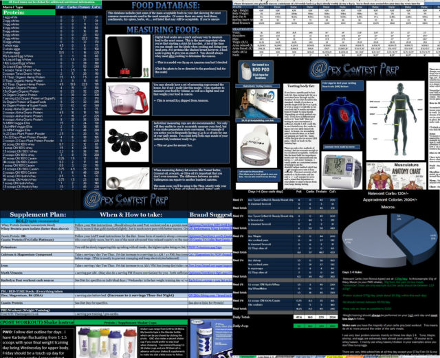 Screen shots of example food database, workouts, diets, supplement plan.